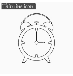 Alarm clock icon Style thin line vector image vector image