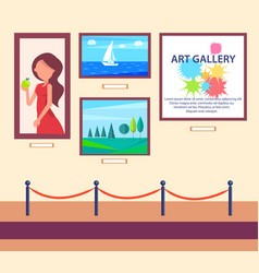 art gallery exhibition with pictures hang on wall vector image vector image