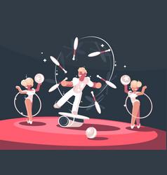 Artist juggler in circus arena vector