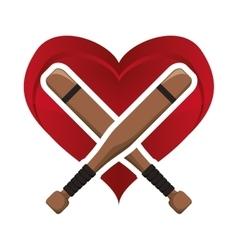 Bat heart baseball sport design vector