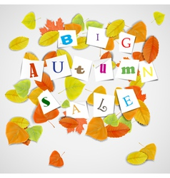 Big autumn sale with colorful leaves vector image vector image