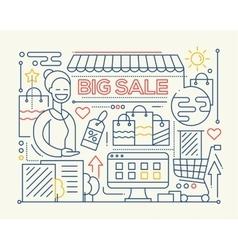 Big sale - line design composition vector