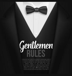black suit gentlemen rules list template vector image vector image