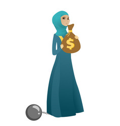 Chained business woman with bag full of taxes vector