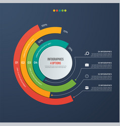 Circle informative infographic design 4 options vector