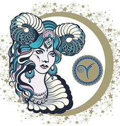 Decorative zodiac sign aries vector