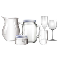 Different types of glass containers vector