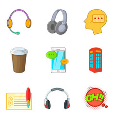Distraction from work icons set cartoon style vector