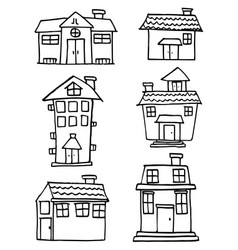 Doodle of house style set collection vector
