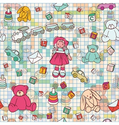 doodles seamless background vector image vector image