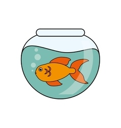 Fish animal cartoon inside bowl design vector