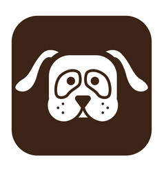 flat color dog head icon vector image