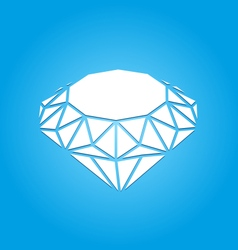 Flat Icon of Diamond on Blue Background vector image vector image