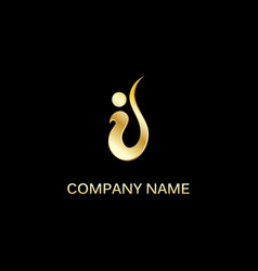 gold swoosh company logo vector image vector image