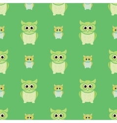 Green and yellow owls set vector image vector image