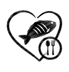 hand drawing heart fish food health vector image