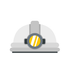 Helmet with light icon flat style vector
