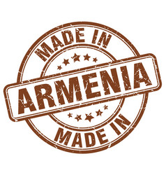 Made in armenia brown grunge round stamp vector