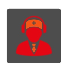Medical call center flat button vector