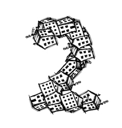 Number two made from houses alphabet vector
