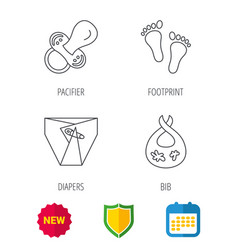 pacifier diapers and footprint icons vector image vector image