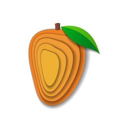 Paper art mango vector
