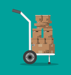 Pile cardboard boxes on a hand truck vector
