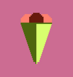 pixel icon in flat style ice cream cone vector image