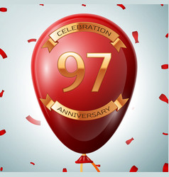 Red balloon with golden inscription 97 years vector