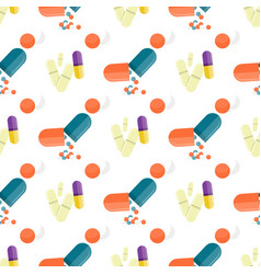 seamless pattern medical drugs pills capsules vector image