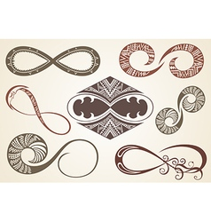 Set of different infinity symbols vector image