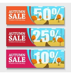 set of web banners with autumn landscape for sales vector image vector image