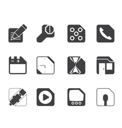 Silhouette mobile phone and internet icons vector
