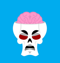 Skull and brain angry emoji skeleton head grumpy vector