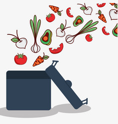 Vegetables and fruits inside of pot cook icon vector