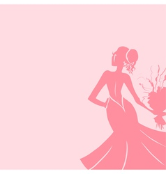 Wedding background with elegant bride vector image