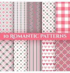 10 romantic seamless patterns tiling vector