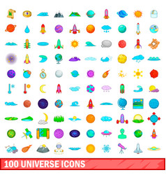 100 universe icons set cartoon style vector image