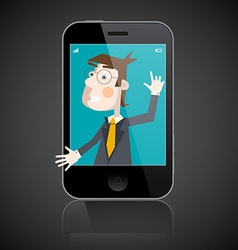 Business Man in Telephone - Man to Shake Hand vector image
