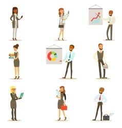 Business finance and office employees in suits vector