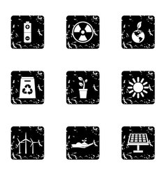 Conservation icons set grunge style vector
