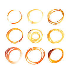Nine golden hand drawn scribble circles isolated vector