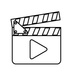 clapperboard with play button vector image