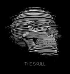 Distorted skull constructed with points vector