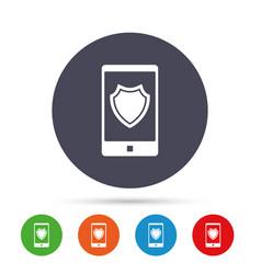 Smartphone protection sign icon shield symbol vector