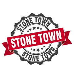 Stone town round ribbon seal vector