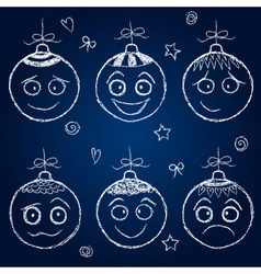 Christmas decorations - chalk balls faces vector