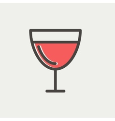 Glass of wine glass thin line icon vector