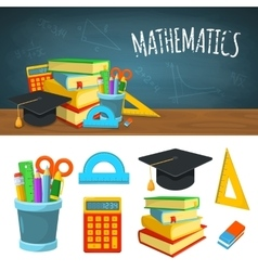 Math backdrop and icons vector