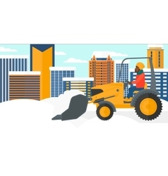 Man plowing snow vector image